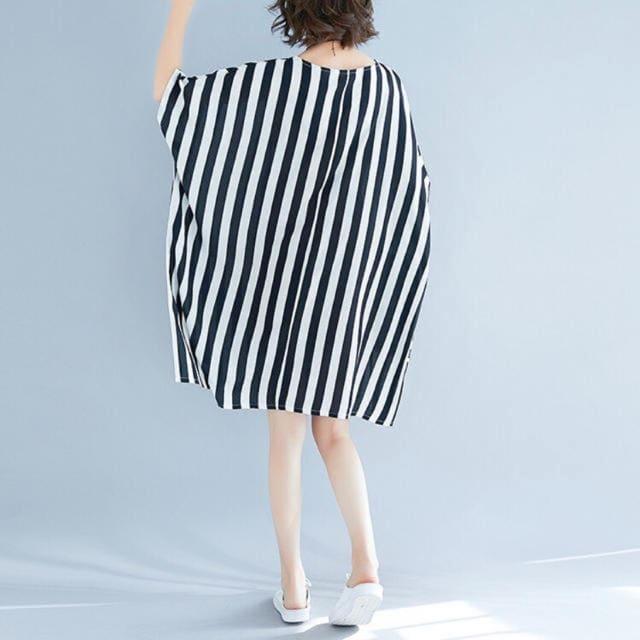 チュニックワンピース ドルマン ストライプ柄 半袖 大きいサイズ < 女性ファッションの