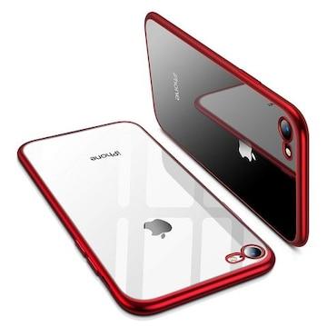 iPhone8 ケース iPhone7ケース 耐衝撃レッド