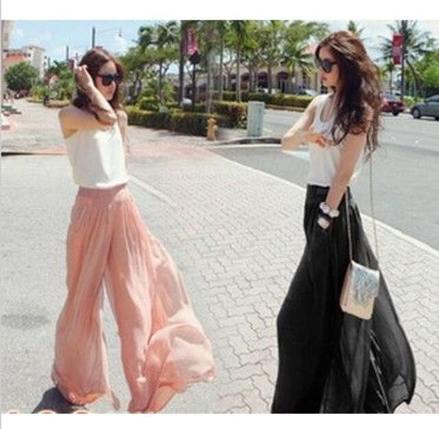 シフォンワイドパンツ ピンク 黒 S-XL 売り切り 特価  < 女性ファッションの