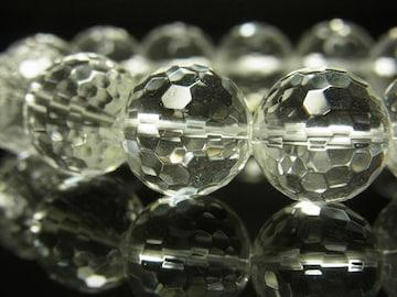特大14ミリ数珠 ミラーボールカット水晶ブレスレット 開運招来パワーストーン