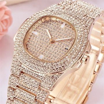 18kイエローゴールドgpダイヤモンドcz腕時計ウォッチ