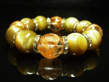 金彫四神獣本水晶 ゴールデンタイガーアイブレスレット 16ミリ数珠 開運石