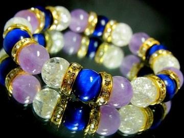 エメラルドブルータイガーアイ§ラベンダーアメジスト§クラック水晶10ミリ金ロンデル数珠