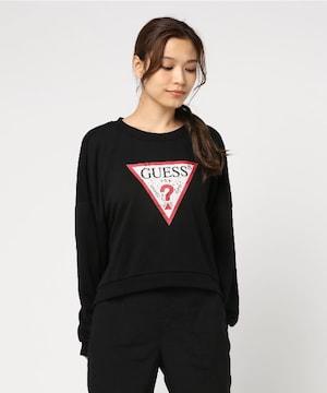 タグ付き新品ゲスGUESS/フリーススウェットシャツトップス黒女XS