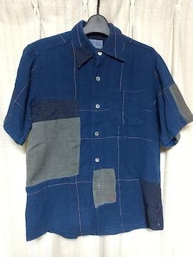 ブルーブルーBLUEBLUEパッチワーク切り替え半袖シャツSサイズ1ネイビー紺色アメカジ服