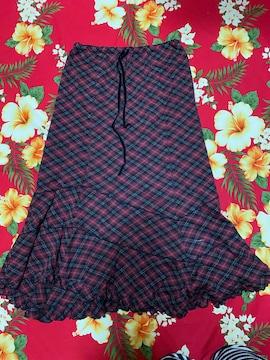 レストローズ☆赤ラメ入☆赤チェックスカート☆裾ヒラヒラ