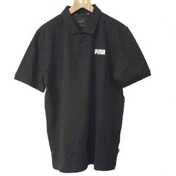 新品L★送料無料PUMA プーマ黒刺繍ロゴポロシャツ