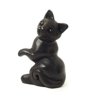 おねだりクロネコ 黒猫木彫り置物★ねこ★アジアンインテリア雑貨