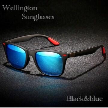 サングラス ミラー ウェリントン型 ミラーレンズ UV400 青