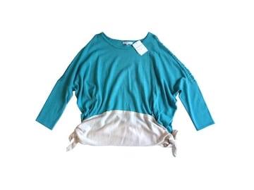 新品 グローブ grove 裾リボン バイカラー ニット セーター