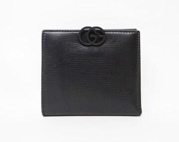 GUCCI グッチ レザー GGフック 二つ折りWホック財布 ブラック【送料無料】
