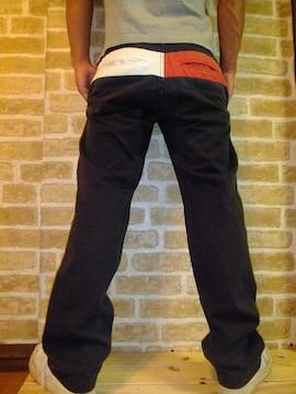 【人気】TOMMYバックフラッグカラー切り替えチノパンツ黒S♪トミーブラック