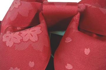 超簡単!子供用浴衣結び帯作り帯★唐紅桜赤系桜ゆかた